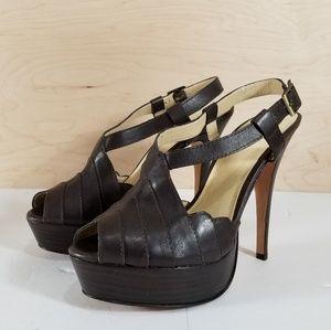 BEBE Brown Opentoe Heels Size 8m